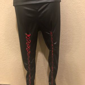 21fd45cb000be Vintage Pants   90s Goth Blackred Lace Up Thick Waist Leggings ...
